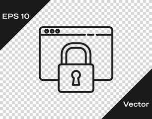 Black line Secure your site with HTTPS, SSL icon isolated on transparent background. Internet communication protocol. Vector