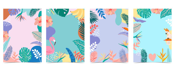 Collection of summer background set with palm,flamingo,flower.Editable vector illustration for invitation,postcard and website banner