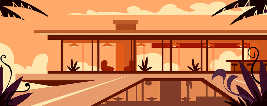 Expensive modern house with a pool in the sunset. Vector illustration.