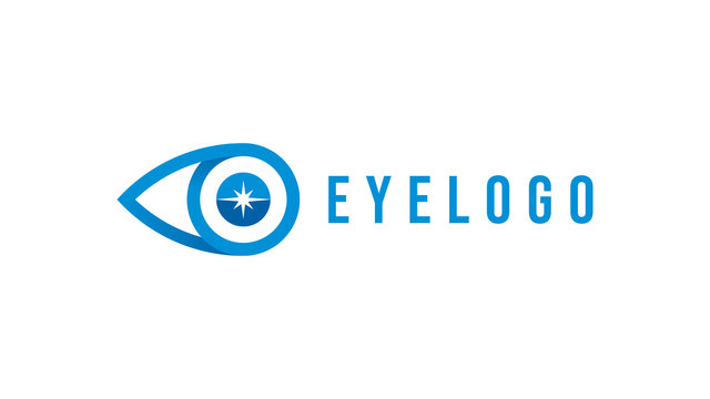 Abstract Eye Logo. Blue Linear Style with Star Sparkle inside Eyeball isolated on White Background. Usable for Business and Technology Logos. Flat Vector Logo Design Template Element.