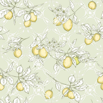 Lemon tree branch with lemons, flowers and leaves and wood carving in art nouveau style, vintage, old, retro style. Seamless pattern, background. Colored vector illustrationin soft green colors..