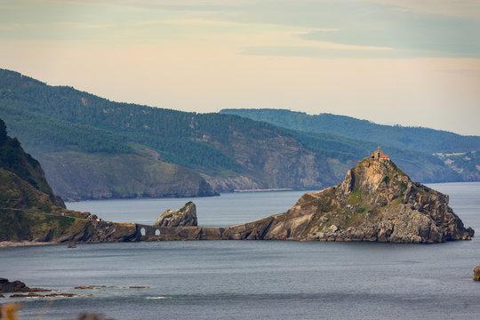 View of the access bridge and the island of Gaztelugatxe