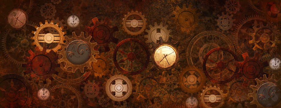 Steampunk rusty banner with gears and clocks in vintage style