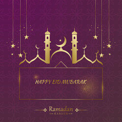 Kareem Ramadhan Greeting Card design, Background in Islamic Art Style, Ramadhan Mubarak Symbols or Eid Al-Fitr. Hanging Arabic Gold Lanterns and lights with moon and stars. vector illustration