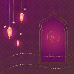 Kareem Ramadhan Greeting Card design, Background in Islamic Art Style, Ramadhan Mubarak Symbols or Eid Al-Fitr. Hanging Arabic Gold Lanterns and lights with moon and stars. vector illustration