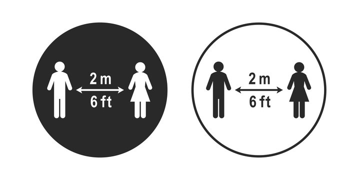 Social distancing sign in circle shape. Stick figure people keeping a 2 meter or 6 feet distance. Circular icon, vector illustration and pictogram isolated on white background.