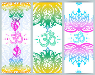 Vertical banner with lotuses and Ohm symbol