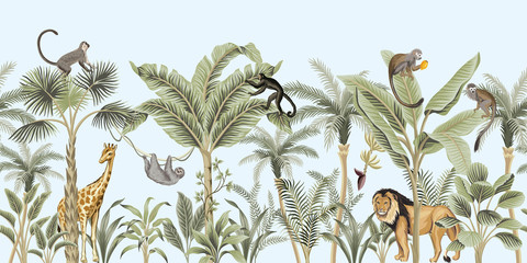 Vintage palm tree, banana tree, lion, giraffe, sloth, monkey african animal floral border blue background. Exotic safari wallpaper. Wall mural