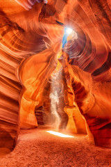 Photo sur Plexiglas Brique Abstract and colorful Antelope Canyon near Page, Arizona, America. Sunbeams into the Canyon. Ghost and Phantom spirit in the slot Canyon.