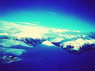 Foto auf AluDibond Violett Scenic View Of Landscape Against Blue Sky