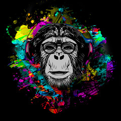 Colorful artistic monkey in eyeglasses with colorful paint splatters on white background