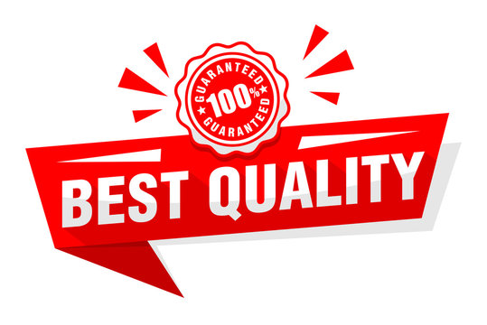 Advertising sticker best quality with red print 100% guarantee. Illustration, vector