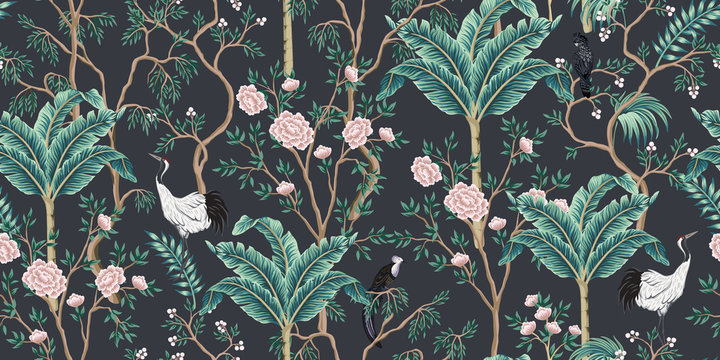 Vintage garden tree, banana tree, birds, crane floral seamless pattern black background. Exotic chinoiserie wallpaper.