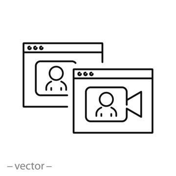 virtual video chat, online meeting icon vector, interview zoom, thin line symbol on white background