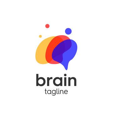 Brain template logo premium vector