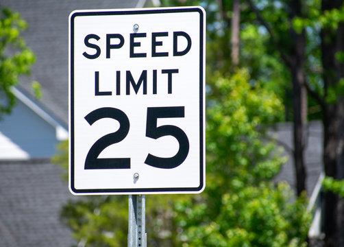 A 25 mph road sign