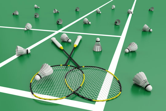 Black badminton rackets on a green floor in badminton court. 3d illustration