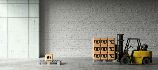 forklift in warehouse moving boxes with money symbols to a box on palette with people symbols