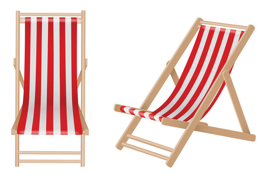 Isolated beach wooden deck chairs