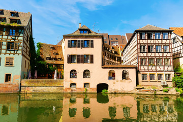 view at the river Ill in La Petite France in Strasbourg, France