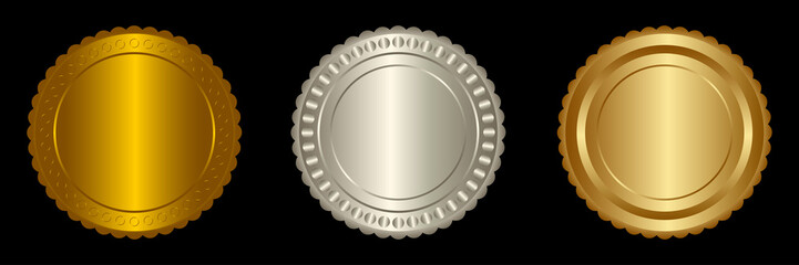 Set vector round golden and silver badge isolated, seal stamp gold luxury elegant banner icon, Vector illustration certificate silver foil seal or medal isolated.