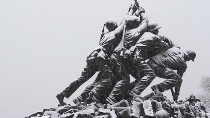 Iwo Jima Memorial in Arlington, VA Side Shot in a Snow Storm