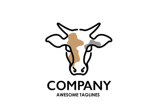 Cow head outline logo vector . Horned cow head line . linear style sign for mobile concept and web design. . Dairy product symbol, logo illustration