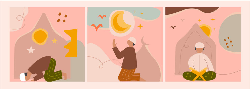 Set of three boys to pray. Young man. Islamic theme. the concept of Muslim prayer and read holy koran. Hand drawn isolated trendy illustrations with an abstract background