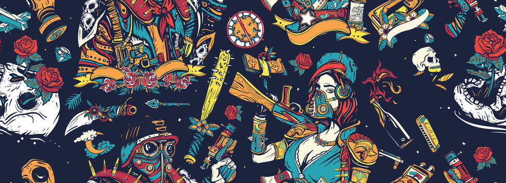 Post apocalypse seamless pattern. Nuclear war background. Doomsday girl and gun, end of world. Post apocalyptic man warrior, soldier woman. People, weapon of dark future