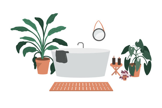 Vector illustration of bathroom in minimalism style. Interior of modern bathroom with plants