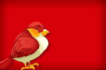 Background template with plain color and red bird Fotomurales