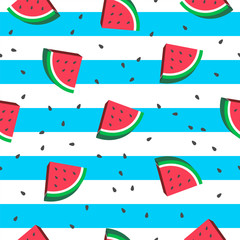 Wall Mural - Watermelon Seamless Pattern Vector illustration. watermelon slices on blue and white stripes background.