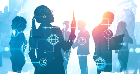 Business people in city, online business interface
