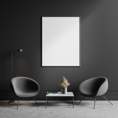 Two gray armchairs in living room with poster