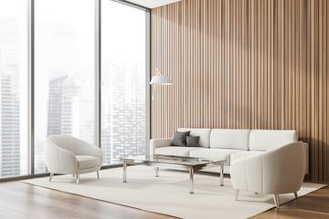 Fototapeta Panoramic wood lounge corner, armchairs and sofa obraz