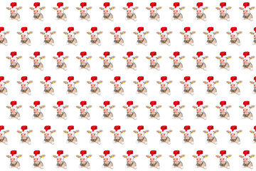 Funny white bull isolated in Christmas hat pattern.