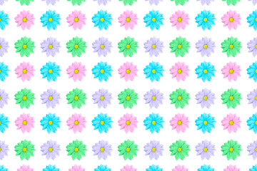 Pink, blue and violet Chamomile or gerbera floral seamless pattern