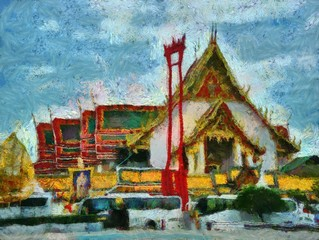 Landscape of the old city center of Bangkok Illustrations creates an impressionist style of painting.