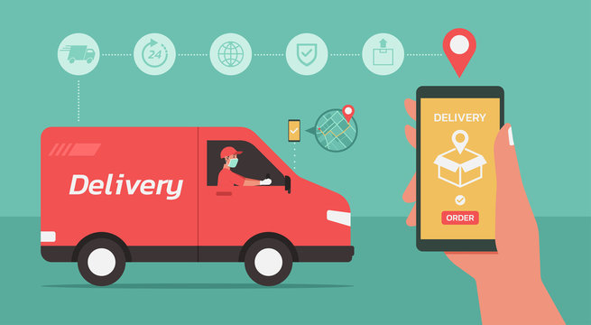 Online delivery van service concept, man delivering box, finding map on phone. Hand holding smartphone with mobile app for goods tracking and order. Smart technology logistic, vector flat illustration