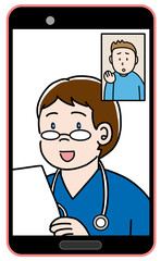 オンライン診療をする外国人の医者と患者