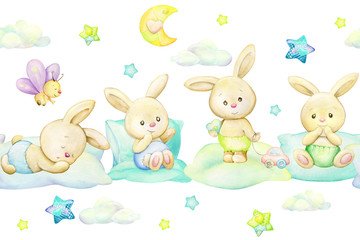 Rabbits, on pillows, against the background of stars, moon, clouds. Watercolor seamless pattern, in cartoon style.