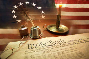 Digital Composite Image Of American Flag And Declaration Of Independence