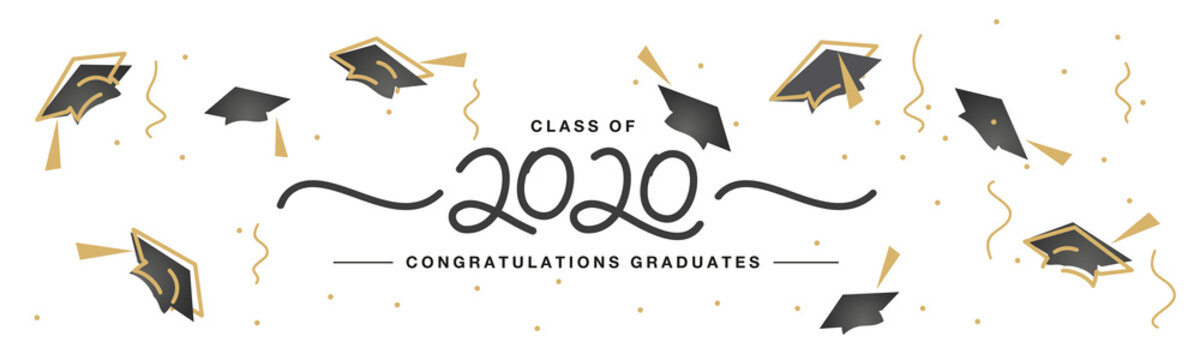 Class of 2020 handwritten typography lettering Congratulations graduates line design gold black cap white isolated background banner