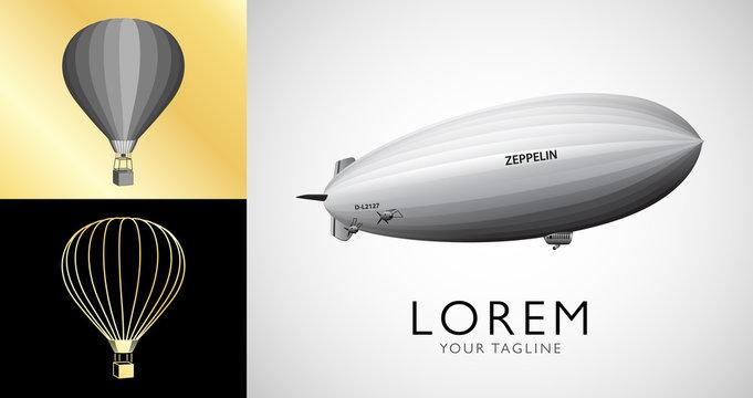 Hot air balloons and blimp. Vintage airship Zeppelin. Dirigible balloon. Vector illustration