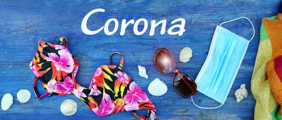 Vacation in Corona-times, towel, bikini, mask