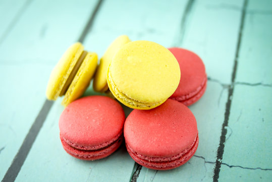 High Angle View Of Macroons On Table
