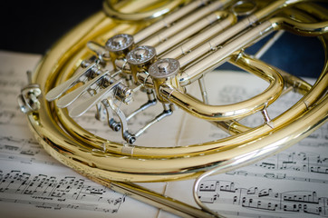 Close-up Of Trumpet On Musical Note