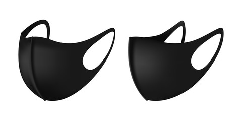 Anti-Dust Black Face Mask Vector For Running. Vector 3d realistic industrial safety respiratory face mask in black. Isolated illustration in side and front view. Safe breathing anti virus protection.