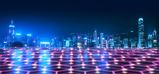 Wall Mural - Smart Network and Connection city of Hong Kong