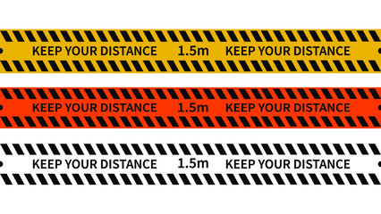 "Seamless caution tapes. Set of Warning ribbons. Warning lines ""Keep your distance"" to protect from Coronavirus.Vector danger tape collection.Social Distancing."